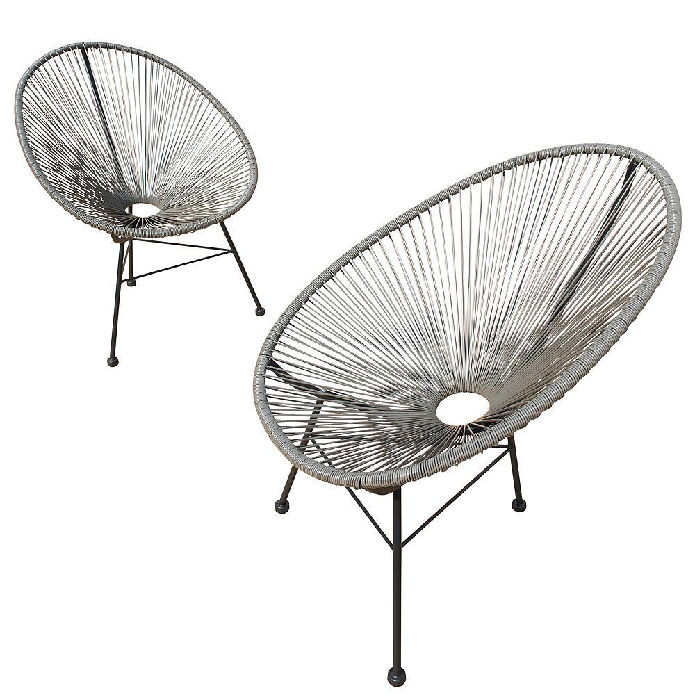 Sirio Hidalgo Wicker Patio Chairs 2PK (Grey)
