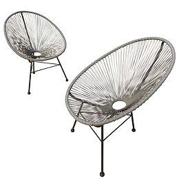 Hidalgo - Ensemble de 2 chaises de patio (Gris)