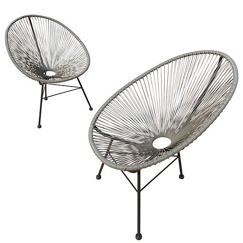 Hidalgo Wicker Patio Chairs 2PK (Grey)