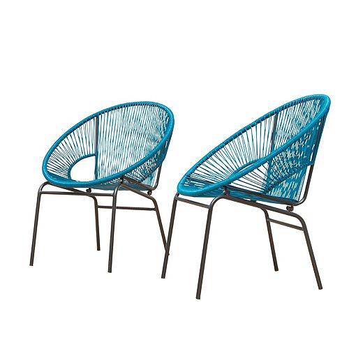 Sonora Wicker Patio Chairs 2PK (Peacock)