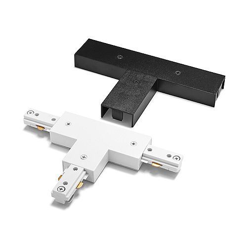 Coupleur de connecteur en T à voie linéaire de 2400 watts avec couvercles blanc et noir
