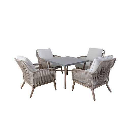 Luxley 5-Piece All-Weather Wicker String Patio Chat Set with White Cushion