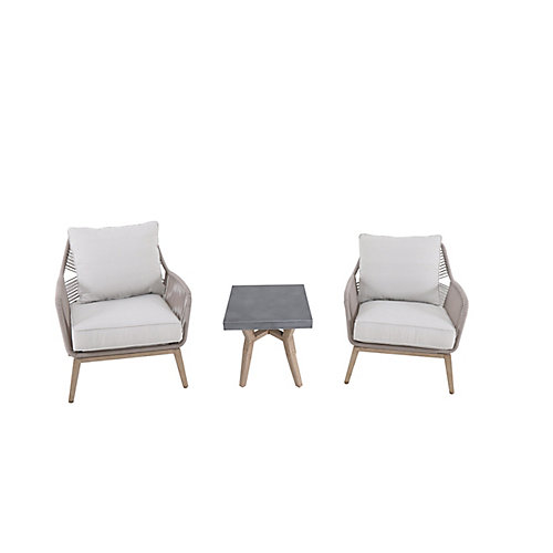 Haymont 3-Piece Steel Wicker Patio Conversion Seating Set with Beige Cushions