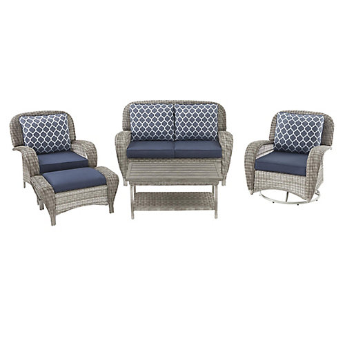 Beacon Park 5-Piece Wicker Patio Deep Seating Set in Grey with Midnight Cushions