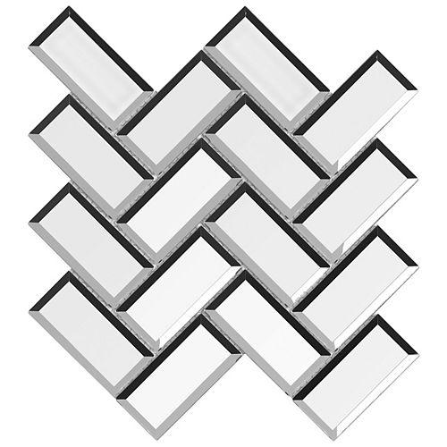 Enigma Skyline Rain 2-inch x 4-inch Herringbone Beveled Glass Mosaics