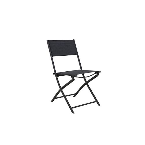 Steel Sling Folding Patio Chair in Charcoal