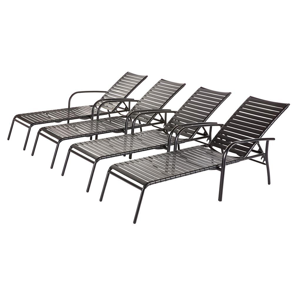 Hampton Bay Black 4-Pack Commercial Grade Aluminum Horizontal PVC Strap Chaise Lounge, Stackable