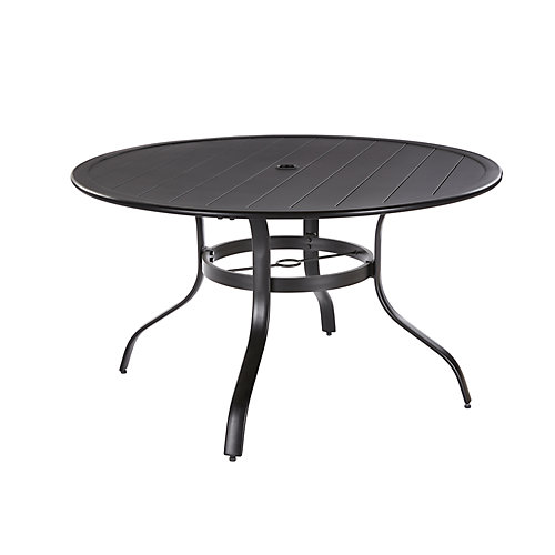 Commercial 48-inch Black Aluminum  Round Outdoor Patio Slat Top Dining Table