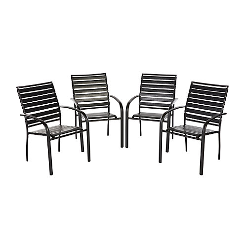 Commercial Grade Aluminum Horizontal PVC Strap Stackable Patio Dining Chair (Set of 4)