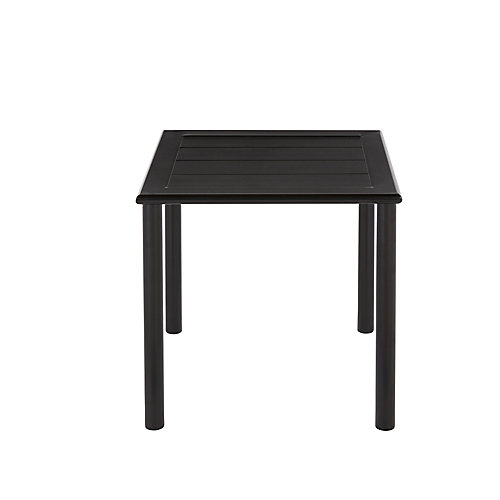 Commercial 18-inch Black Aluminum  Square Outdoor Patio Slat Top Side Table