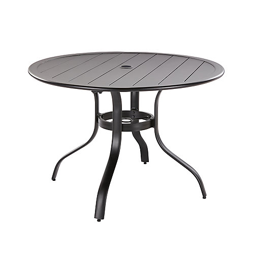 Commercial 40-inch Brown Aluminum  Round Outdoor Patio Slat Top Dining Table