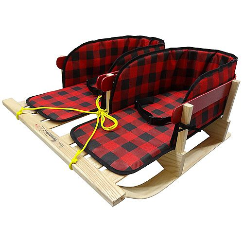 Traditional Dual Sleigh w/belted plaid pad - boxed