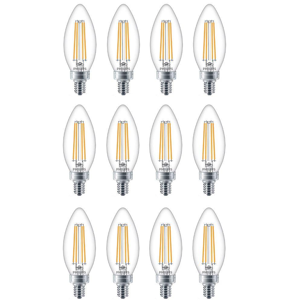 Philips Ampoule DEL pour lustre à petit culot, équiv. de 60 W, 5 000 K, verre, lumière naturelle, ens. de 12