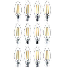 60W Equivalent Daylight Glass (5000K) Chandelier Candelabra Base LED Light Bulb (12-Pack)