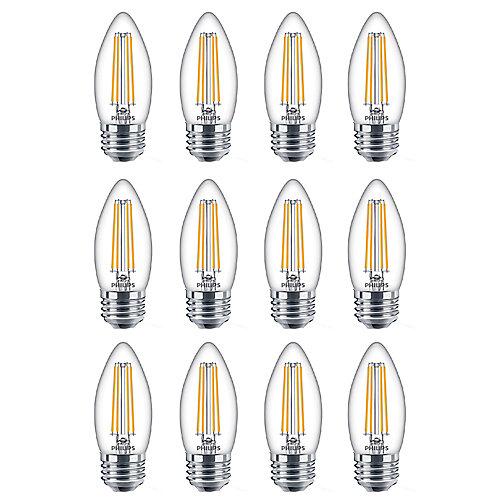 60W Equivalent Soft White Glass (2700K) Chandelier Medium Base LED Light Bulb (12-Pack)