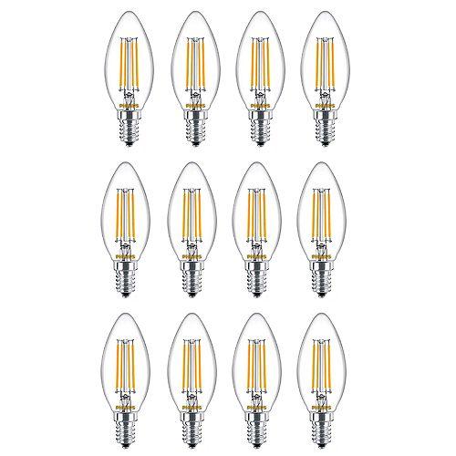 25W Equivalent Soft White Glass (2700K) Chandelier Candelabra Base LED Light Bulb (12-Pack)