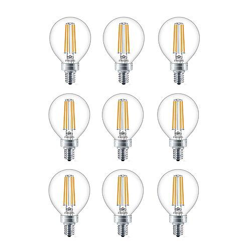 4.5W=40W Soft White  G16.5 Candelabra Base LED Light Bulb (9-pack)