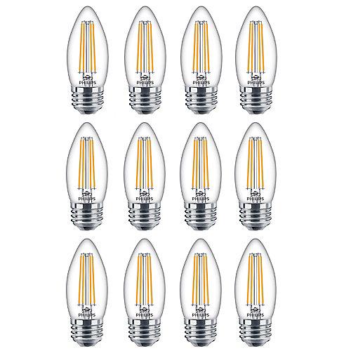 60W Equivalent Daylight Glass (5000K) Chandelier Medium Base LED Light Bulb (12-Pack)