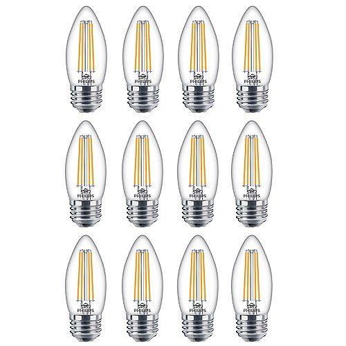 Philips Ampoule DEL pour lustre à culot moyen, équiv. de 60 W, 5 000 K, verre, lumière naturelle, ens. de 12