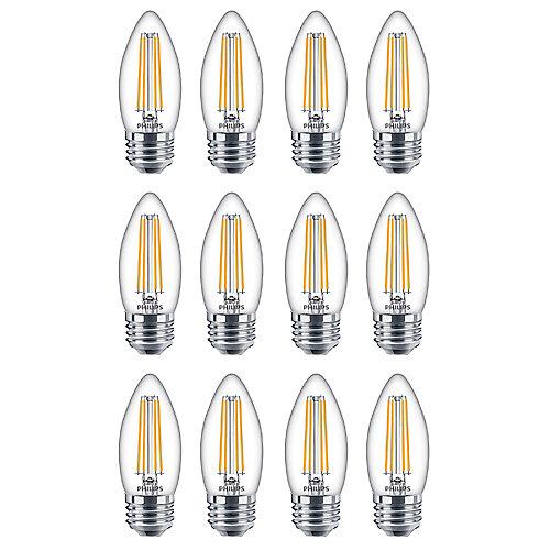 40W Equivalent Soft White Glass (2700K) Chandelier Medium Base LED Light Bulb (12-Pack)