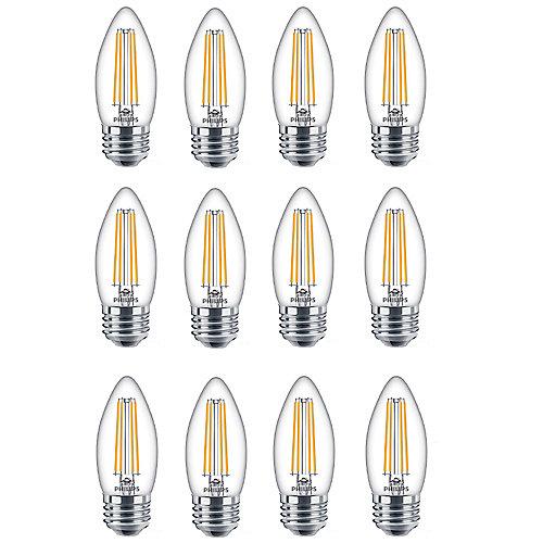 40W Equivalent Daylight Glass (5000K) Chandelier Medium Base LED Light Bulbs (12-Pack)