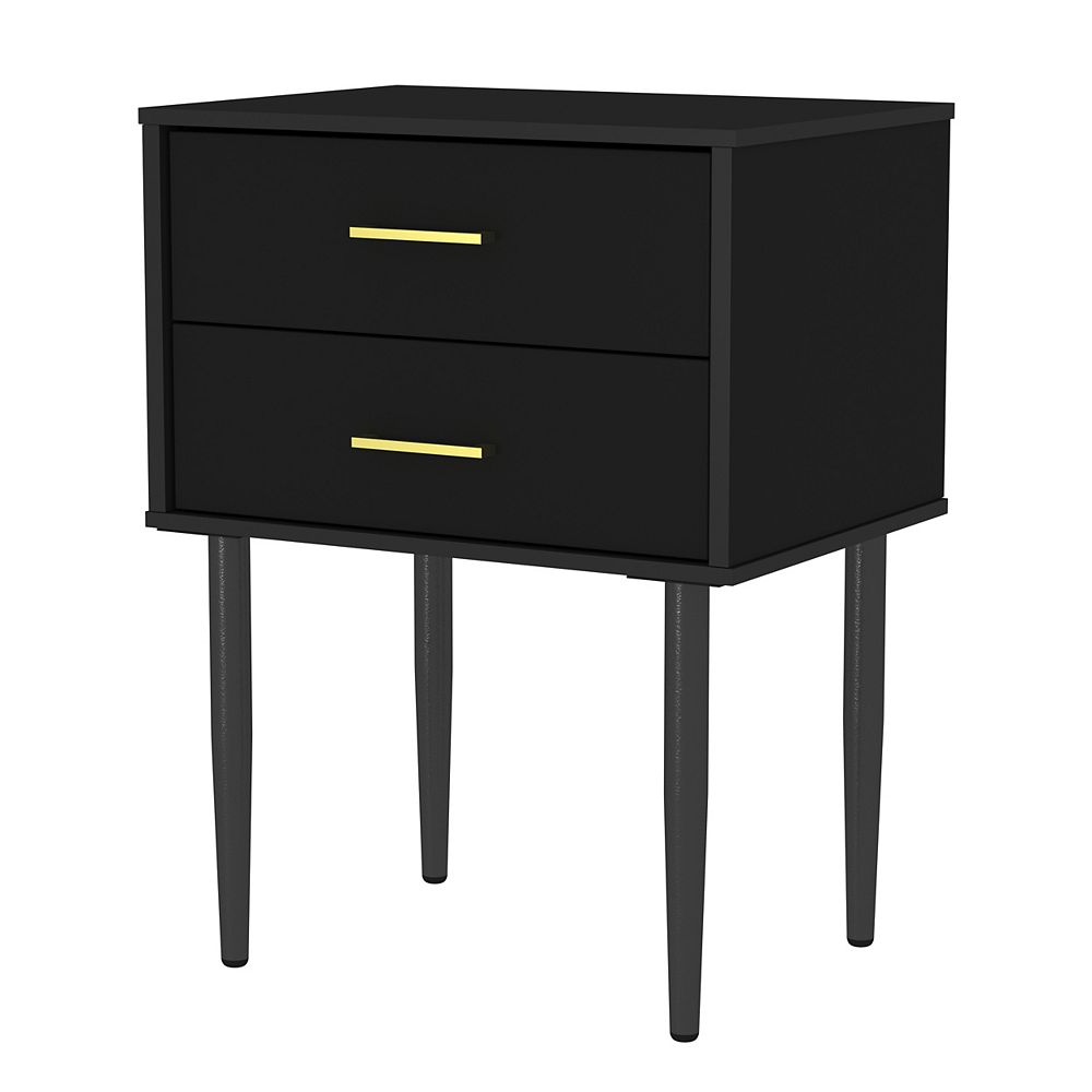 Welwick Designs 2-Drawer Mid Century Modern Side Accent Table in Black