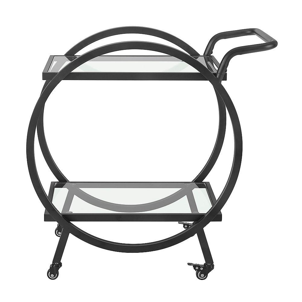Welwick Designs 32 inch Modern Contemporary Round Frame Serving Bar Cart - Black