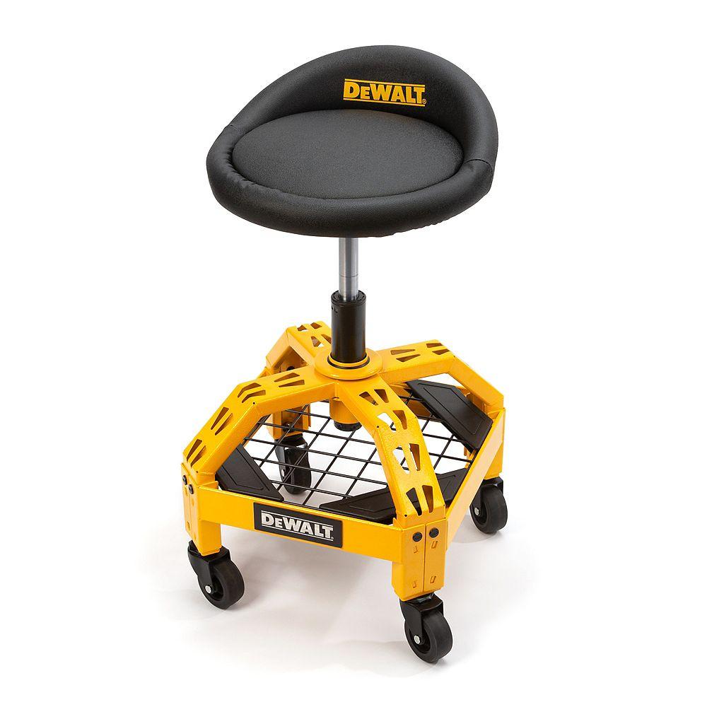 DEWALT Tabouret d'atelier jaune à hauteur réglable avec roulettes, 23 po haut. x 16 po larg.x 16 po prof.