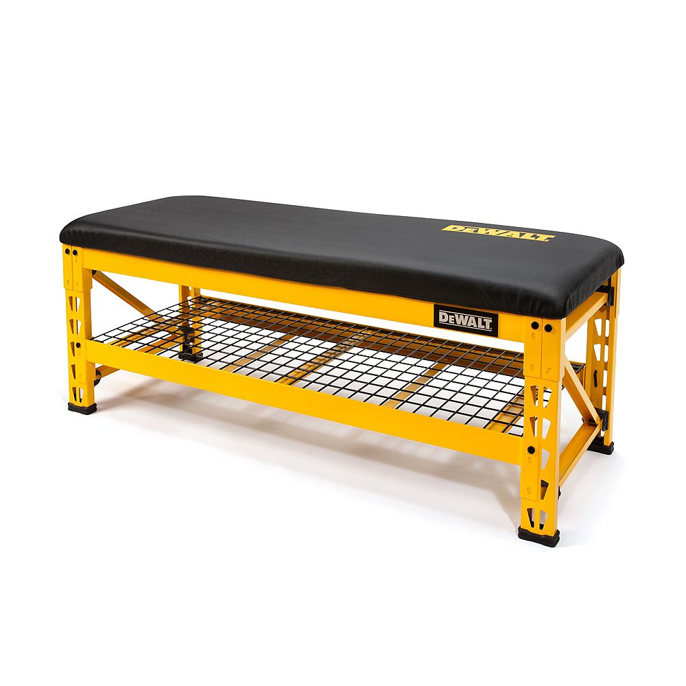 DEWALT 20-inch H x 50-inch W x 18-inch D Garage Bench with Adjustable Wire Grid Storage Shelf in Yellow