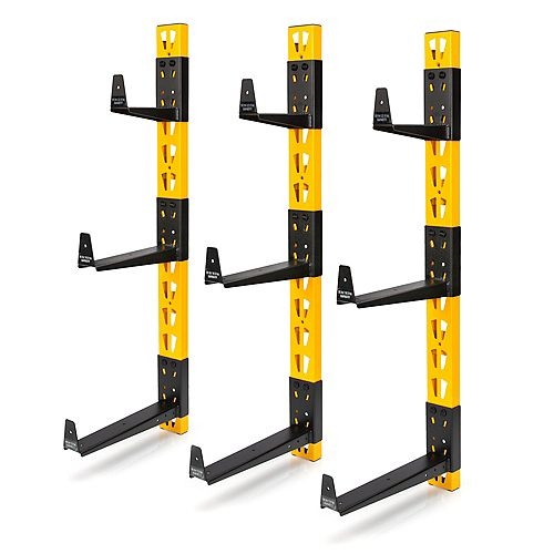 36-inch H 3-Piece Wall Mount Steel Cantilever Rack in Yellow