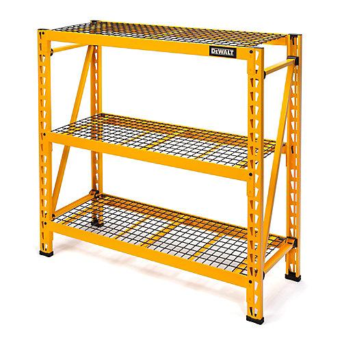 48-inch H x 50-inch W x 18-inch D 3-Shelf Steel / Wire Deck Industrial Storage Rack Unit in Yellow