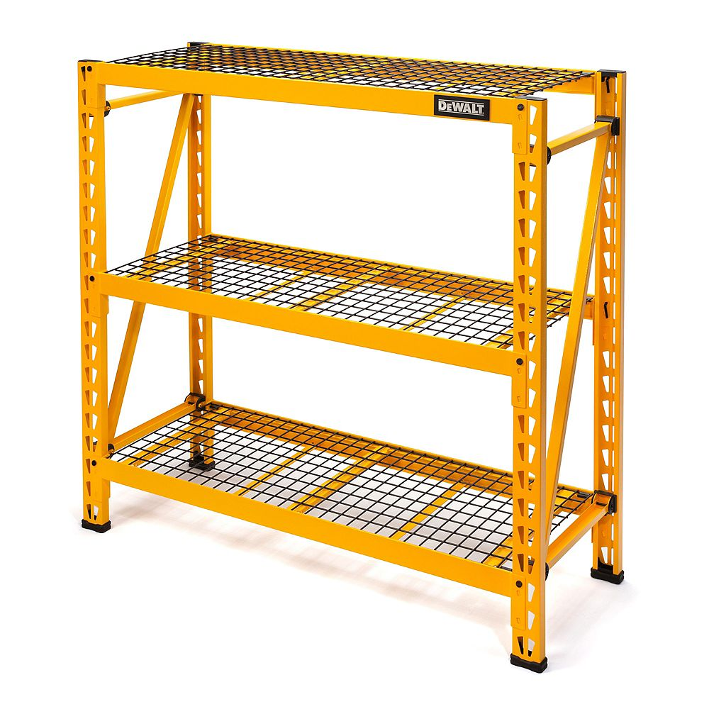 DEWALT 48-inch x 50-inch x 18-inch Steel Wire Grid Deck 3-Shelf Industrial Storage Rack Unit in Yellow