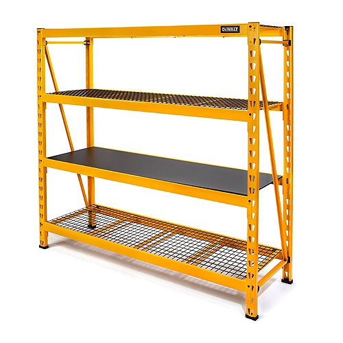 DEWALT 72-inch H x 77-inch W x 24-inch D 4-Shelf Steel/Laminate Industrial Storage Rack Unit in Yellow