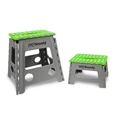 MyStooly Folding Step Stools 2 Pack Green