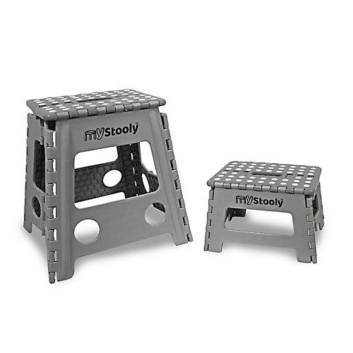 MyStooly Folding Step Stools 2 Pack Grey