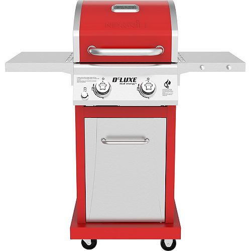DeLuxe 2-Burner Propane Gas Grill in Red