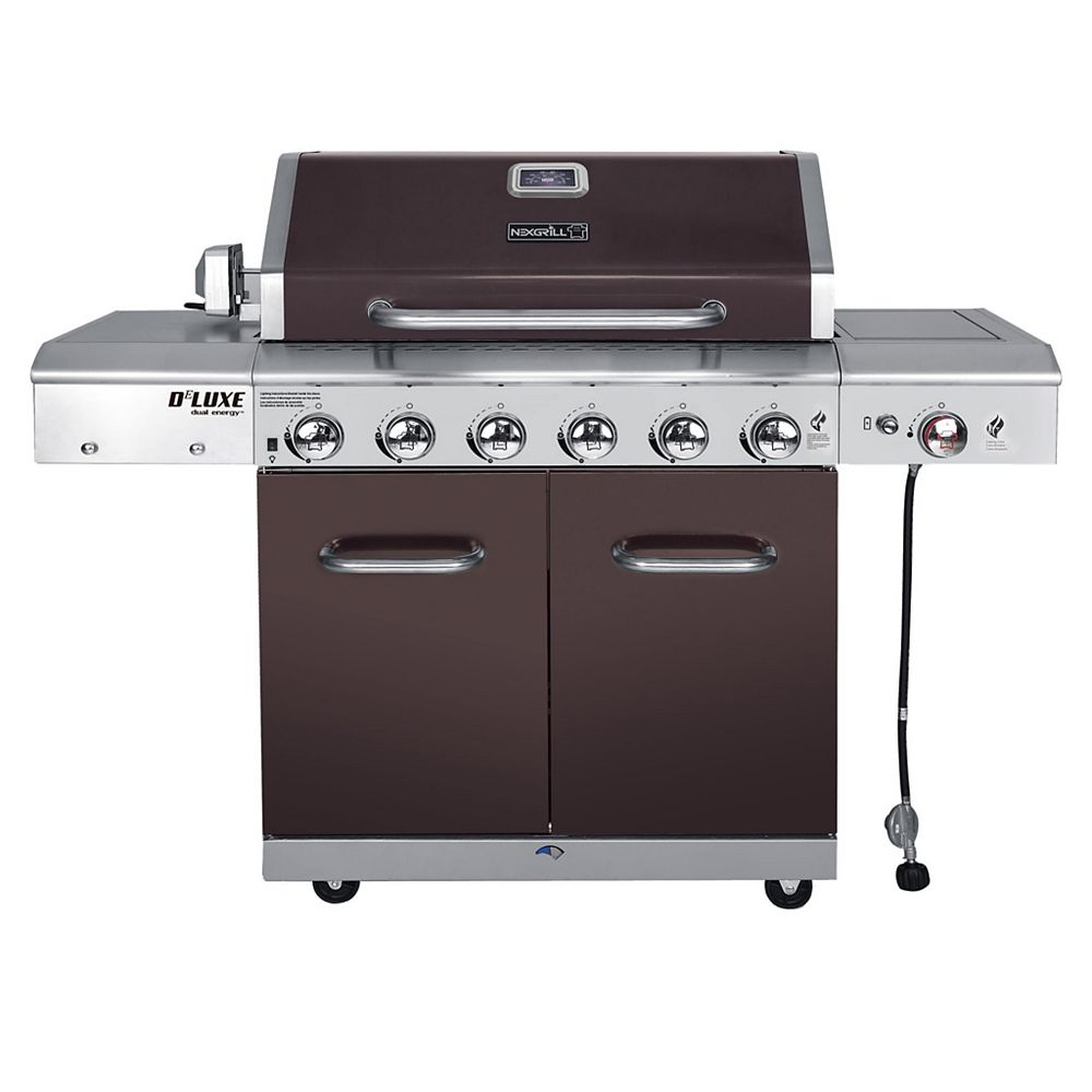NexGrill DeLuxe 6-Burner Propane Gas Grill in Mocha with 768 sq. Inches of Cooking Surface and Ceramic Searing Side Burner