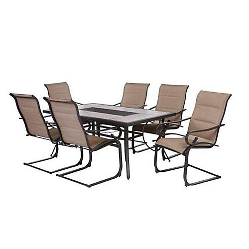 Crestridge 7-Piece Steel Padded Sling Patio Dining Set in Putty Taupe