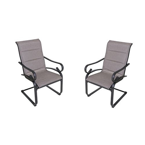 Hampton Bay Crestridge Steel Padded Sling C-Spring Patio Dining Chair in Putty Taupe (Set of 2)