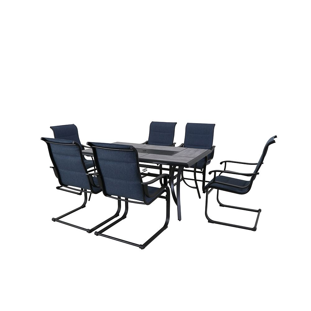 Slateford 9 Piece Steel Padded Sling Patio Dining Set in Midnight Blue