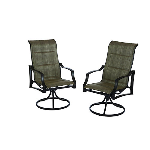 Statesville Padded Sling Swivel Patio Dining Chair (Set of 2)
