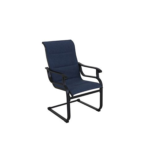 Hampton Bay Slateford Padded Sling Patio Dining Chair in Midnight Blue (Set of 2)