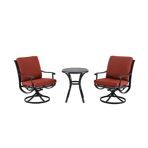 Redwood Valley Steel 3-Piece Patio Bistro Set with Quarry Red Cushion