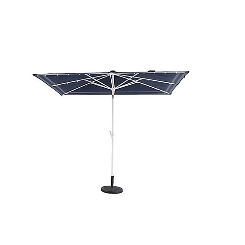 10 ft. x 6 ft. Beacon Park  Aluminum Market Solar Auto Tilt Patio Umbrella in Blue White Trellis