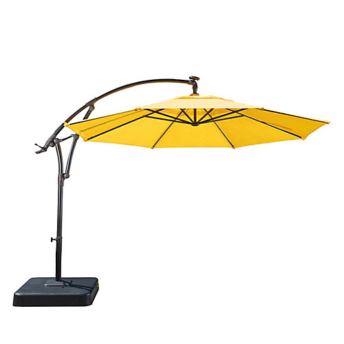 11 ft. Lightbar Offset Solar Patio Umbrella in Daffodil Yellow