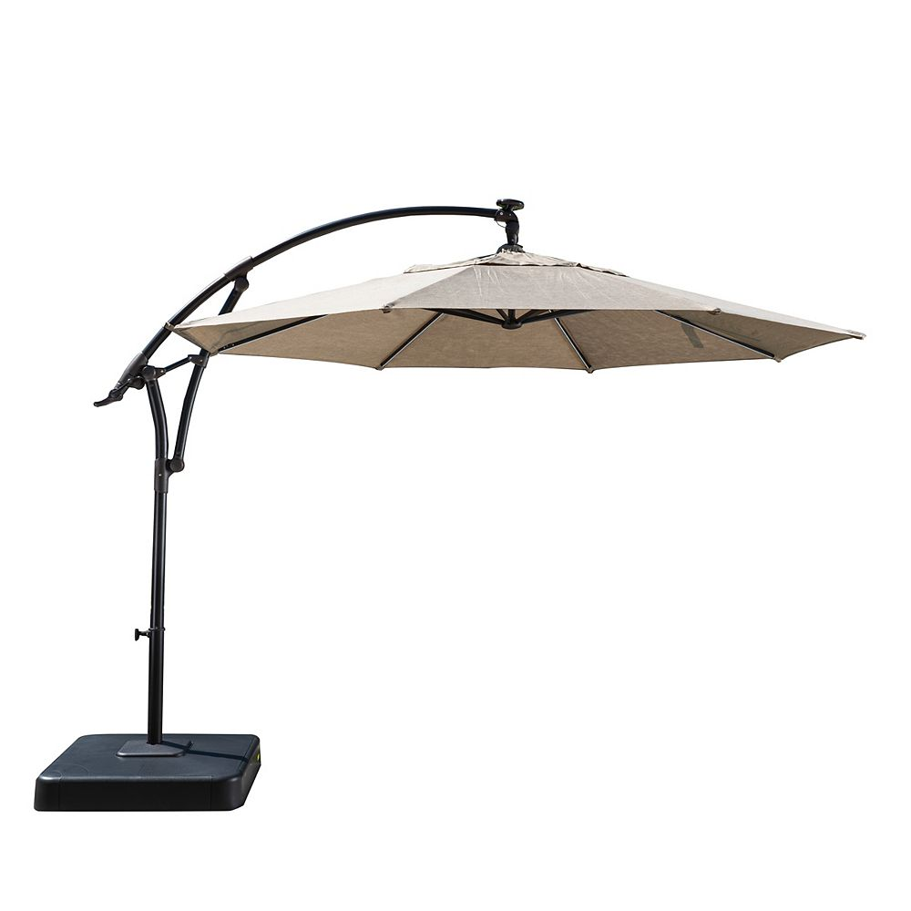 Hampton Bay 11 ft. Lightbar Offset Solar Patio Umbrella in Tan