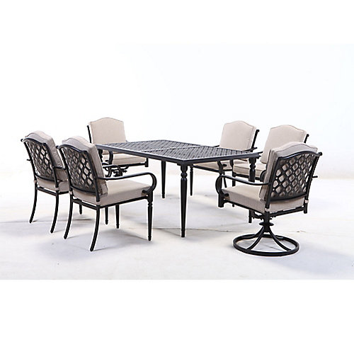 Laurel Oaks 7-Piece Steel Outdoor Patio Dining Set in Brown with Standard Putty Tan Cushions