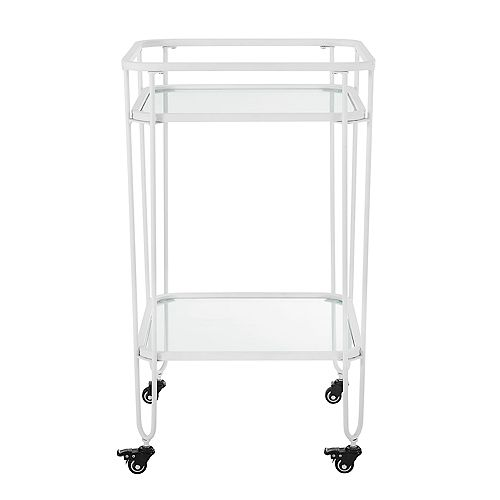 Square Metal Bar Cart and Storage Cart with Wheels - White