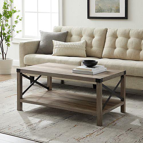 """Table basse en X en métal rustique urbain industriel de 40"""" - Lavis gris/Noir"""