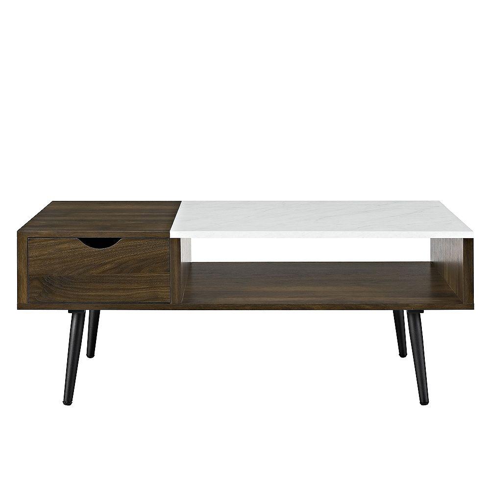 """Welwick Designs Table basse rétro-moderne en bois et faux marbre de 42"""" - Noyer foncé"""